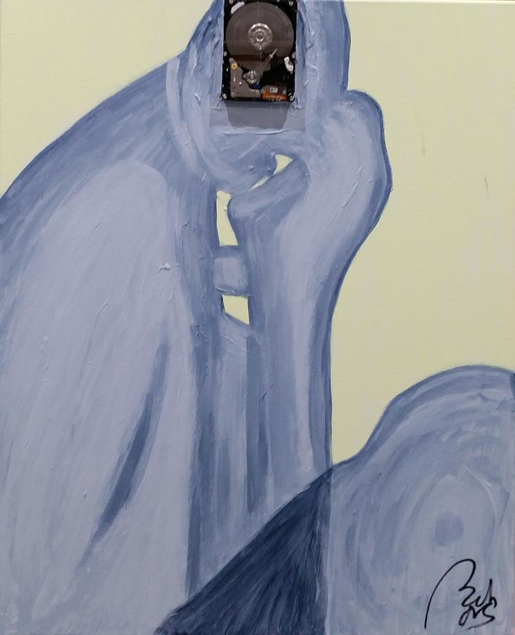 Thinker Painting - The Thinker With Memory 1,5 Tb by Bachmors Artist