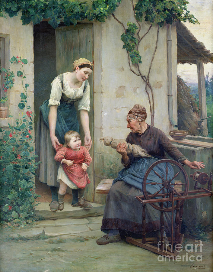 The Painting - The Three Ages by Jules Scalbert