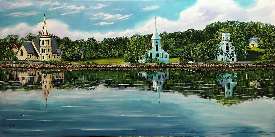 Mahone Bay Painting - The Three Churches  by Lawren Nause