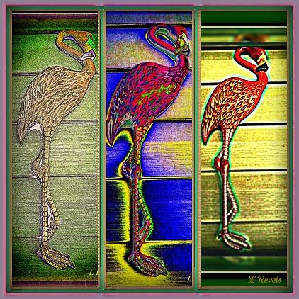 Flamingo Photograph - The Three Flamingos by Leslie Revels