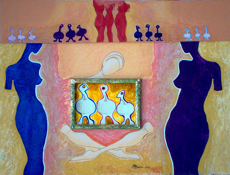 Surrealist Painting - The Three Graces by Monica Baesu