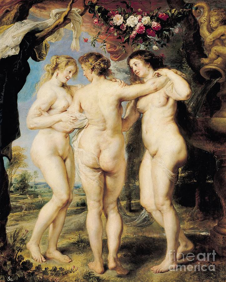 The Painting - The Three Graces by Peter Paul Rubens