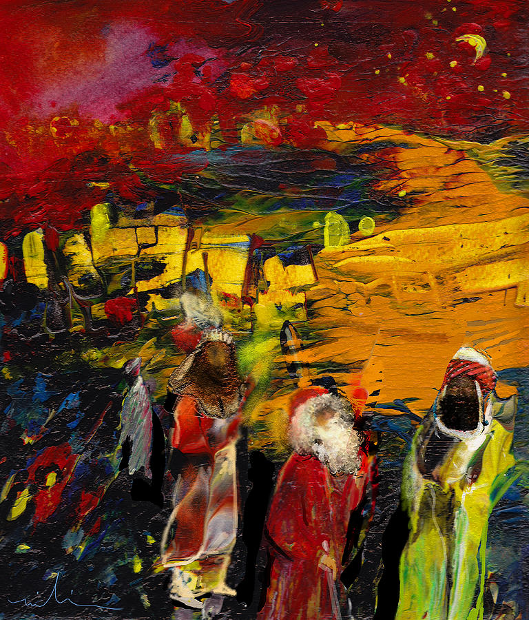 Epiphany Painting - The Three Kings by Miki De Goodaboom