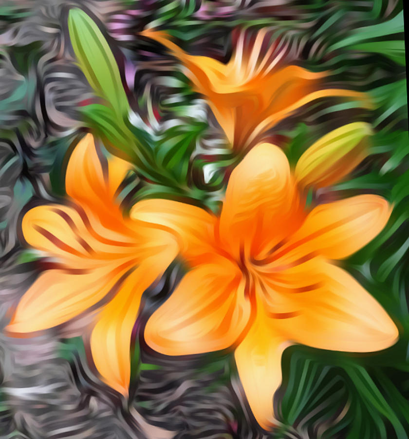 Flowers Digital Art - The Three Lilies by Sheila Renee Parker