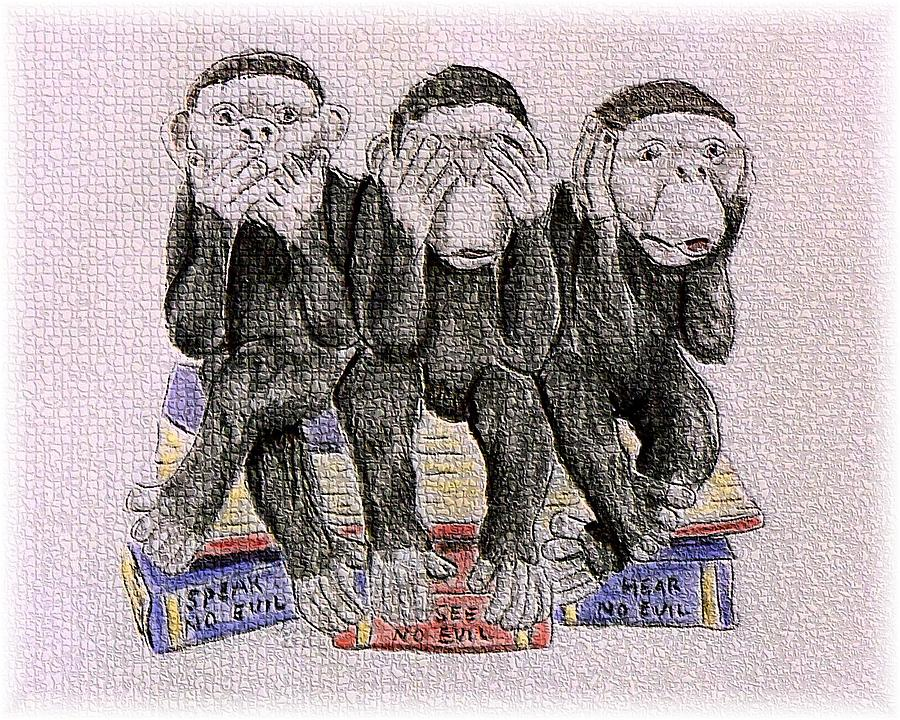 Monkeys Painting - The Three Monkeys by Lilly King