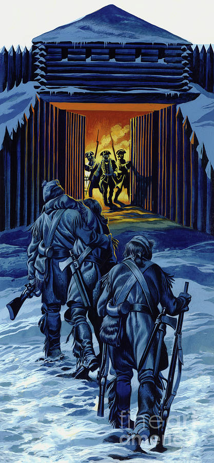 History Painting - The Three Rangers, Almost Dead, Staggered Into Fort William Henry To Bring Her To Their Comrades  by Ron Embleton