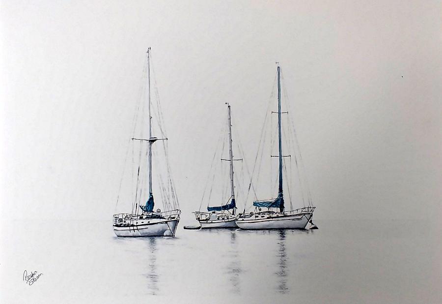The Three Sail Boats  by Richard Benson