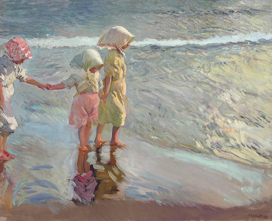 Joaquin Sorolla Painting - The Three Sisters On The Beach by Joaquin Sorolla