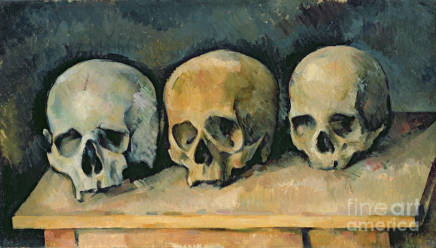 The Painting - The Three Skulls by Paul Cezanne