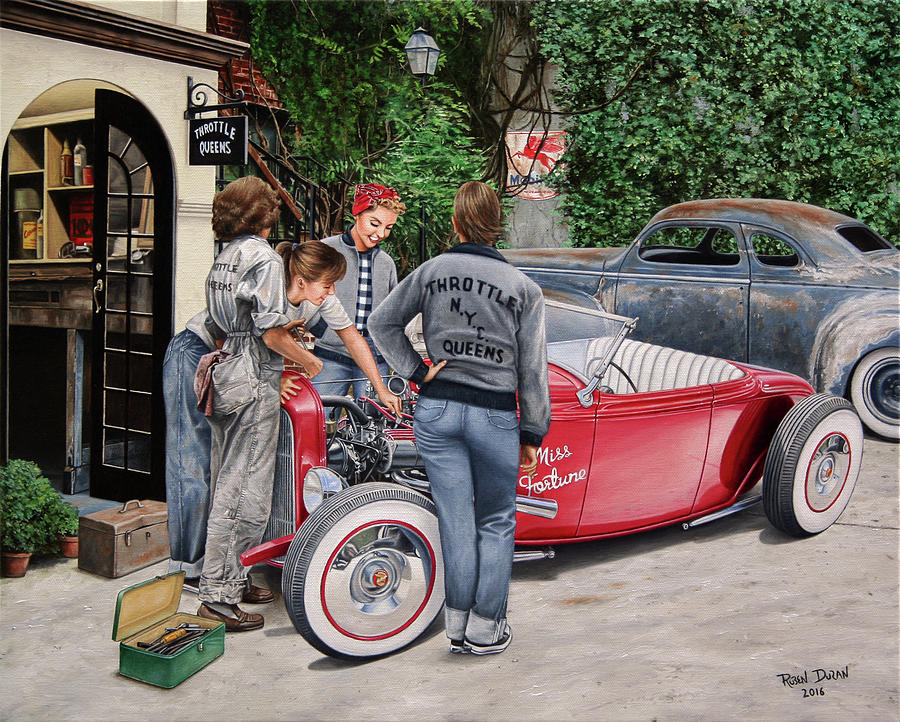 Hot Rod Painting - The Throttle Queens by Ruben Duran