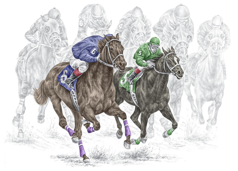 Tb Drawing - The Thunder Of Hooves - Horse Racing Print Color by Kelli Swan