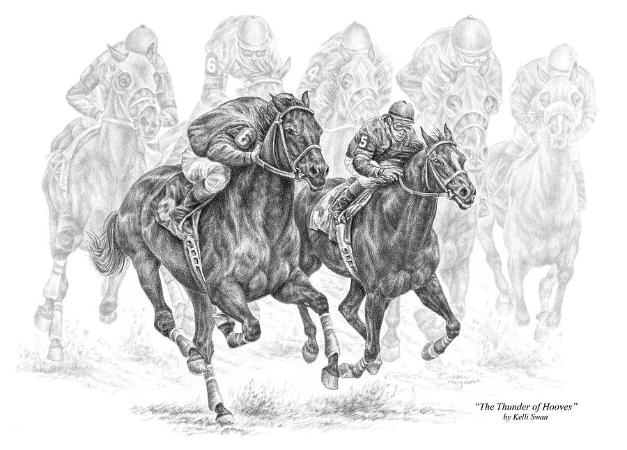 Tb Drawing - The Thunder Of Hooves - Horse Racing Print by Kelli Swan
