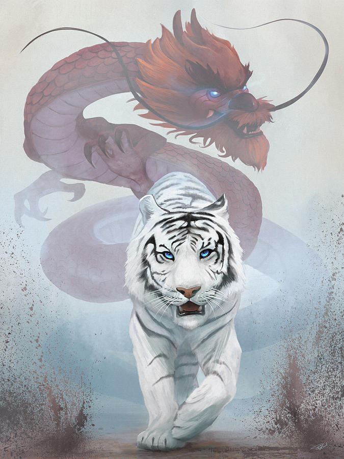 Duality Digital Art - The Tiger And The Dragon by Steve Goad
