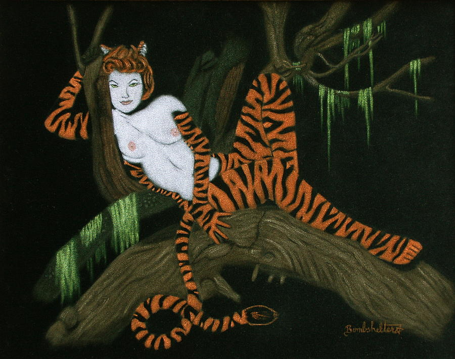 Black Velvet Painting - The Tigress by Diane Bombshelter
