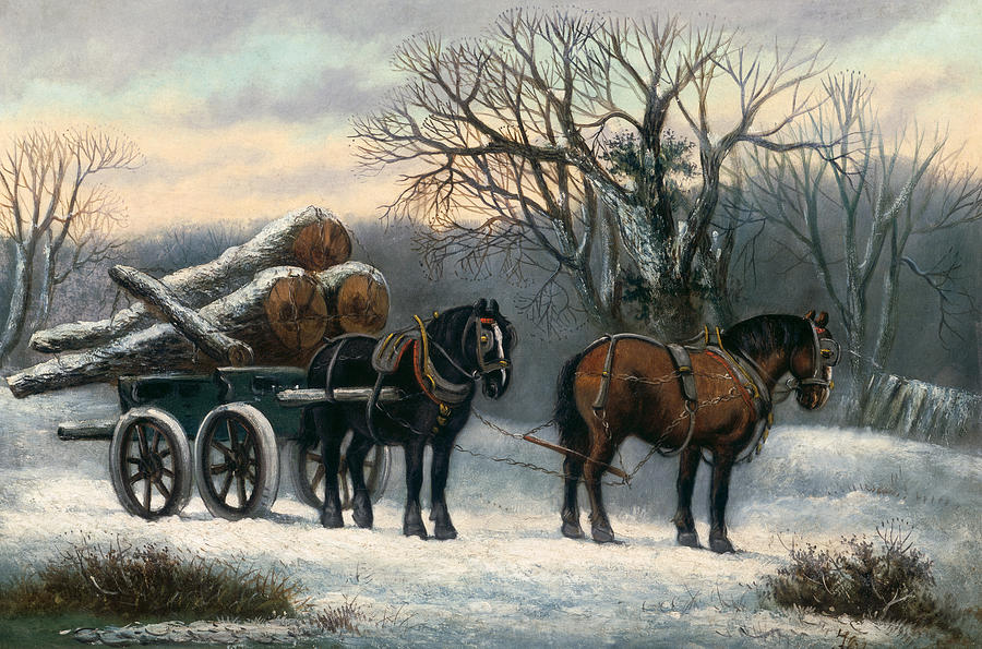 The Painting - The Timber Wagon In Winter by Anonymous