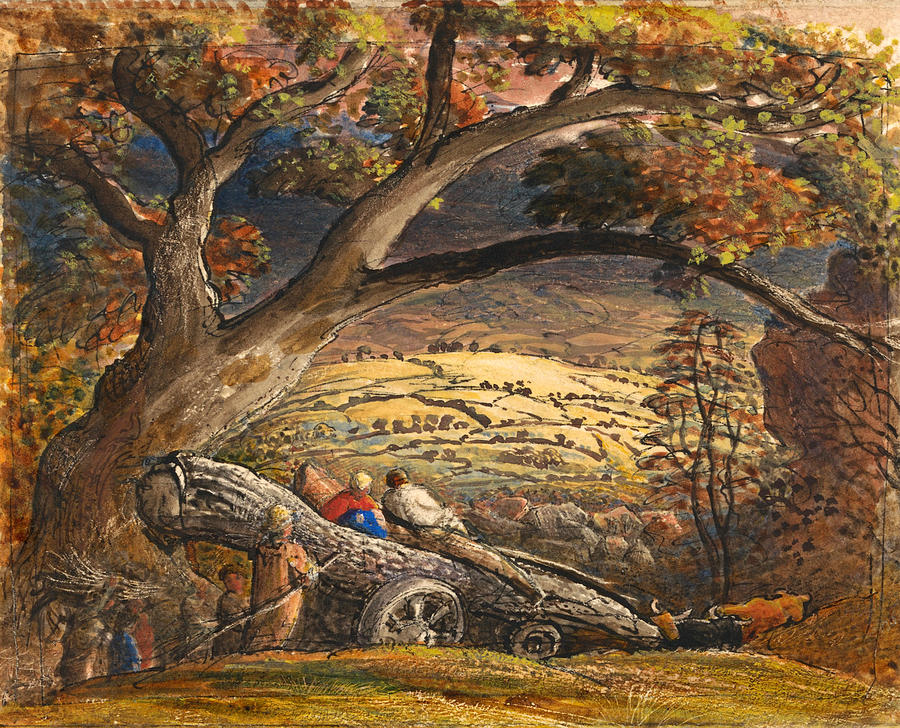 Samuel Palmer Drawing - The Timber Wain by Samuel Palmer