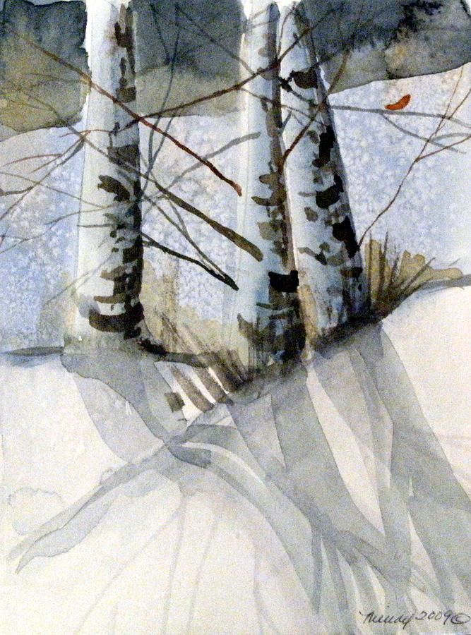 Birches Painting - The Tiny Bird by Mindy Newman