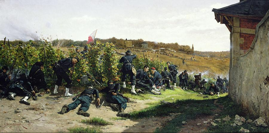 The Painting - The Tirailleurs De La Seine At The Battle Of Rueil Malmaison by Etienne Prosper Berne-Bellecour