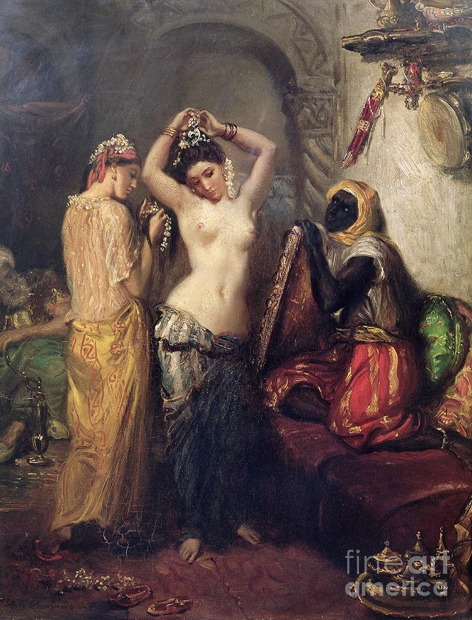 The Painting - The Toilet In The Seraglio by Theodore Chasseriau