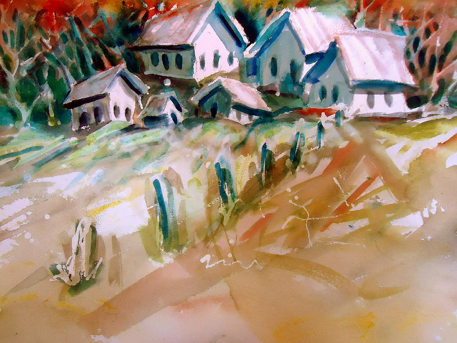 Old Buildings Painting - The Town On Shaky Ground by Steven Holder