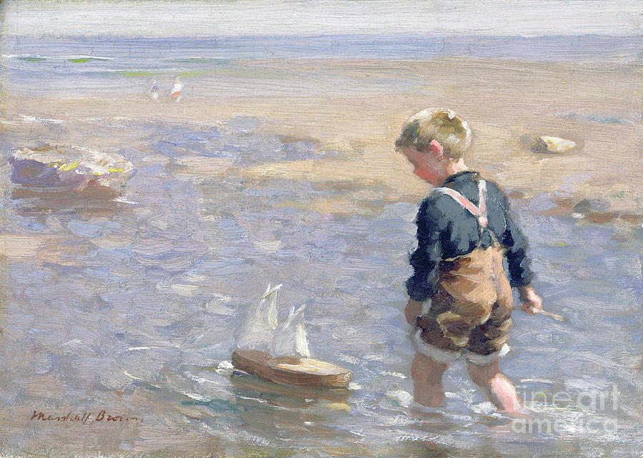 Brown Painting - The Toy Boat by William Marshall Brown