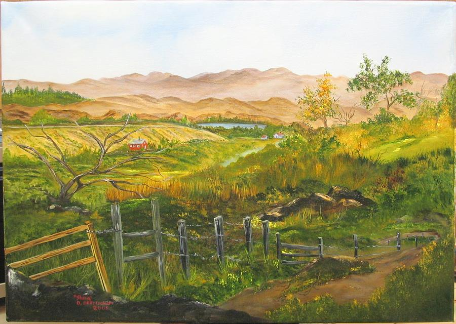Hills Painting - The Trail Down The Valley by Shira Diana Breithaupt