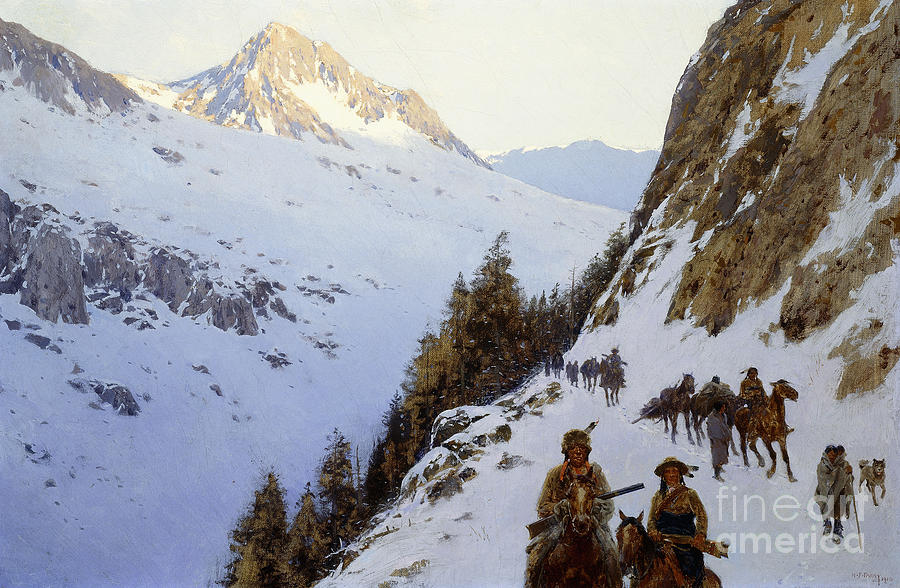 Wilderness Painting - The Trail Over The Pass, 1910 by Henry Francois Farny