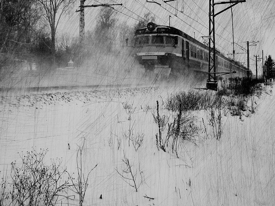 The Train Runs Exactly On Schedule... Mixed Media by Aleksandrs Drozdovs