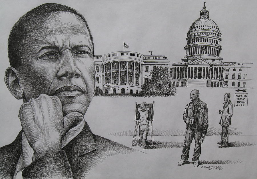 Barack Obama Drawing - The Transition by Arnold Hurley