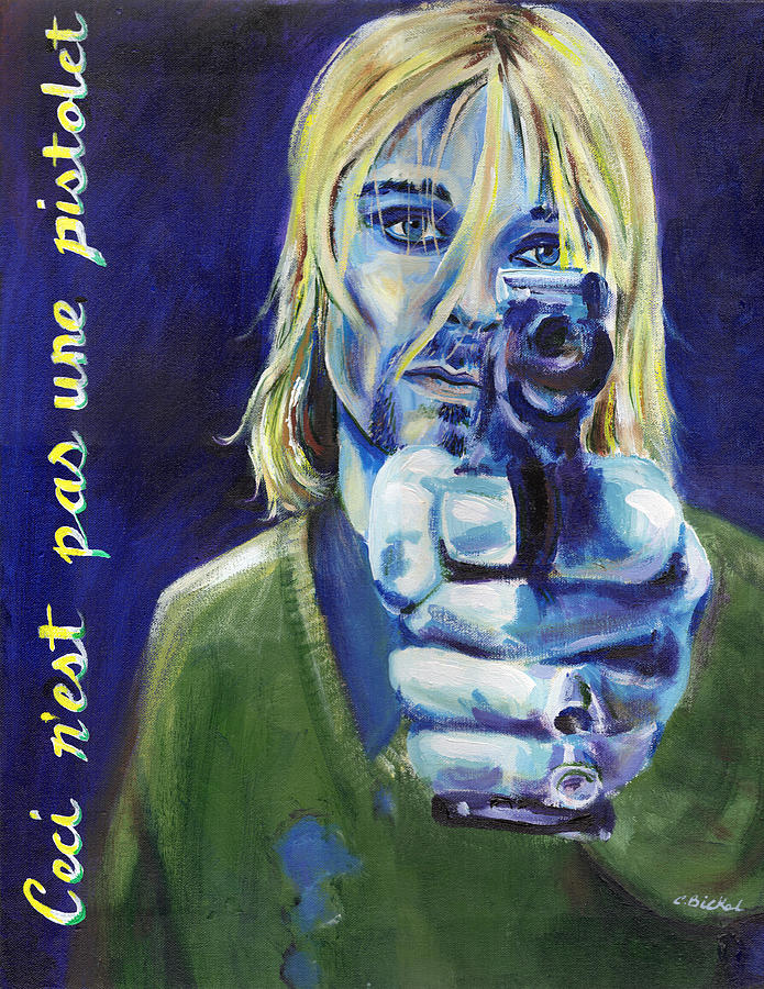 Cobain Painting - The Treachery Of Words by Charles Bickel