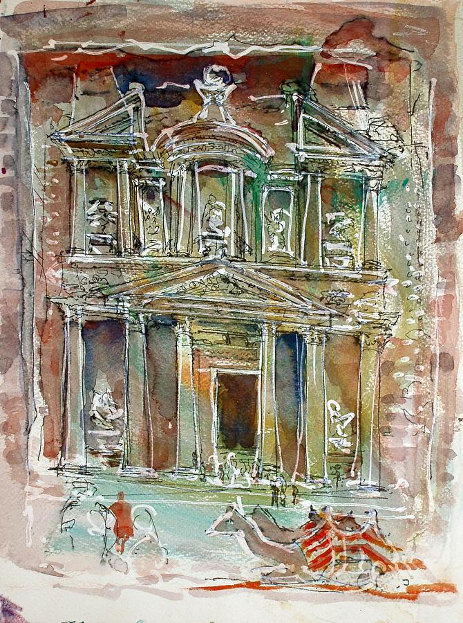 Petra Painting - The Treasury Petra by Mike Shepley DA Edin