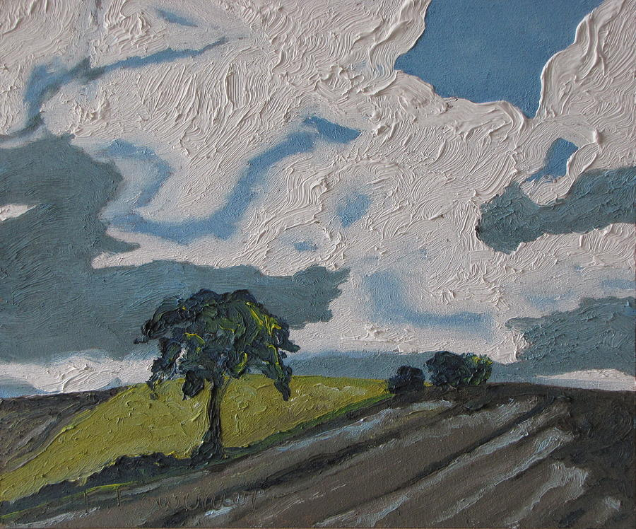 Fournier Painting - The Tree By The Brown Field by Francois Fournier