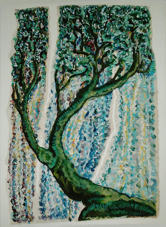 Tree Painting - The Tree Energy by Helene  Champaloux-Saraswati