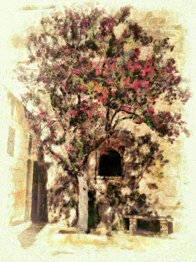 Pretty Digital Art - The Tree In The Corner Of The Courtyard by Leigh Kemp