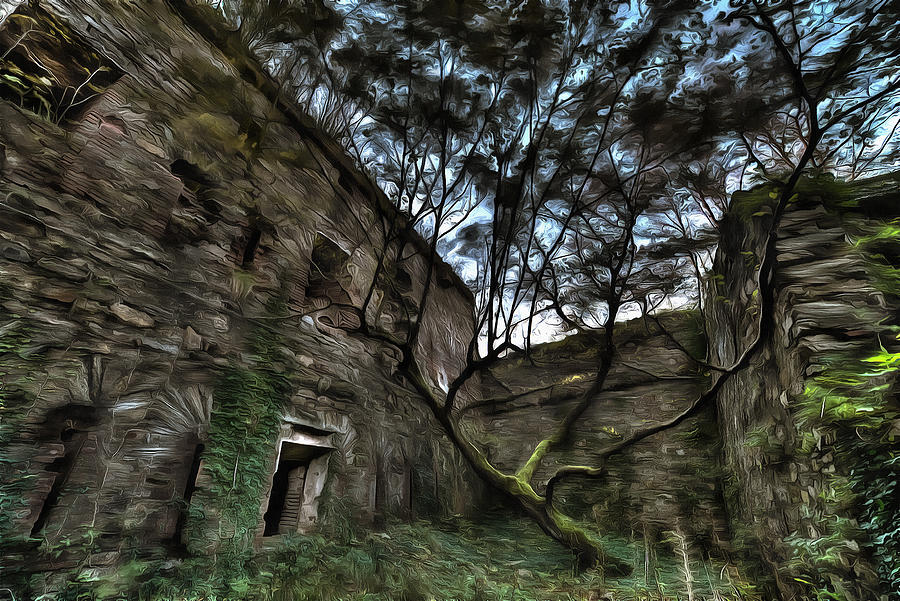 Abandoned Places Photograph - The Tree In The Fort - Lalbero Tra Le Mura Del Forte Paint by Enrico Pelos