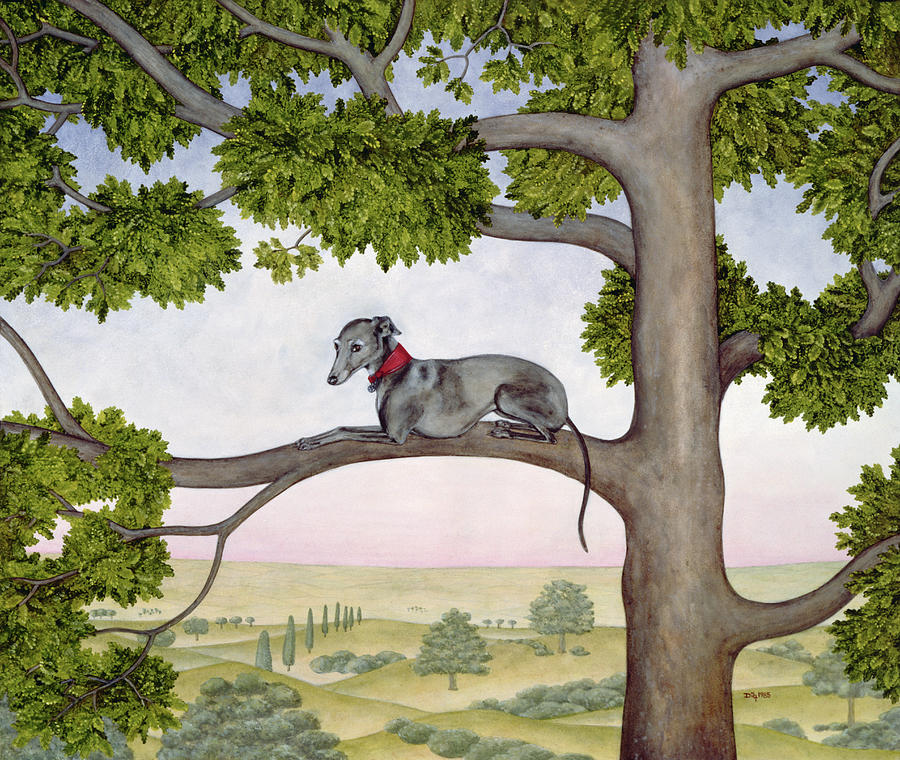 Dog Painting - The Tree Whippet by Ditz