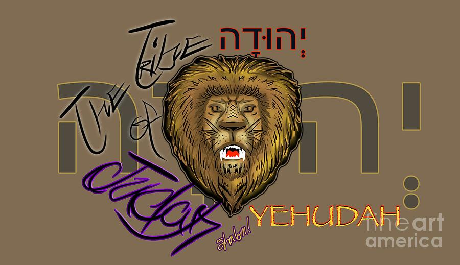 Lion Drawing - The Tribe of Judah Hebrew by Robert Watson