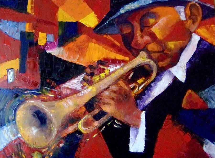 Music Painting - The Trumpet Man  by Pedro Brull