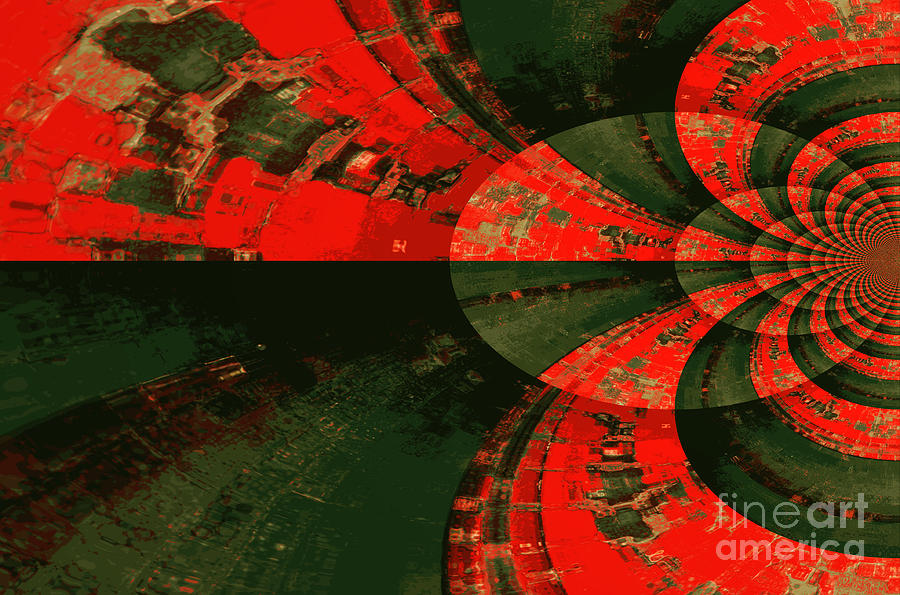 Green And Red Digital Art - The Tube by Carol Groenen