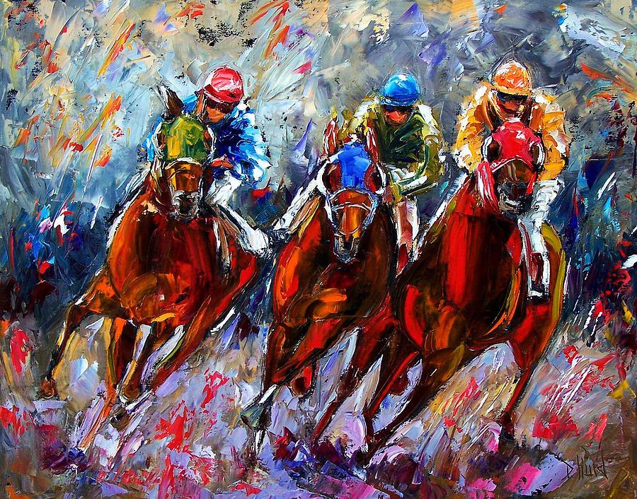 Horses Painting - The Turn 2 by Debra Hurd