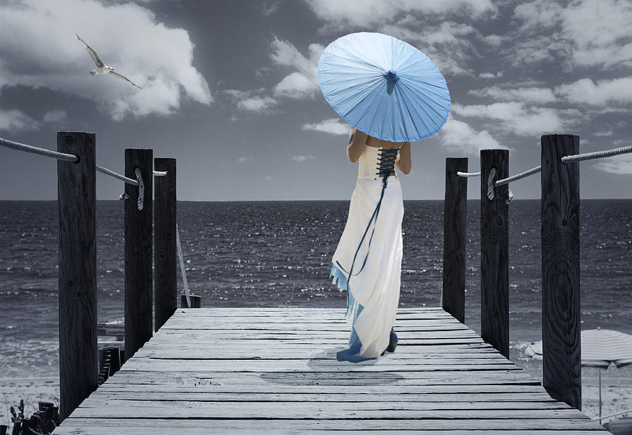 Woman Photograph - The Turquoise Parasol by Amanda Elwell