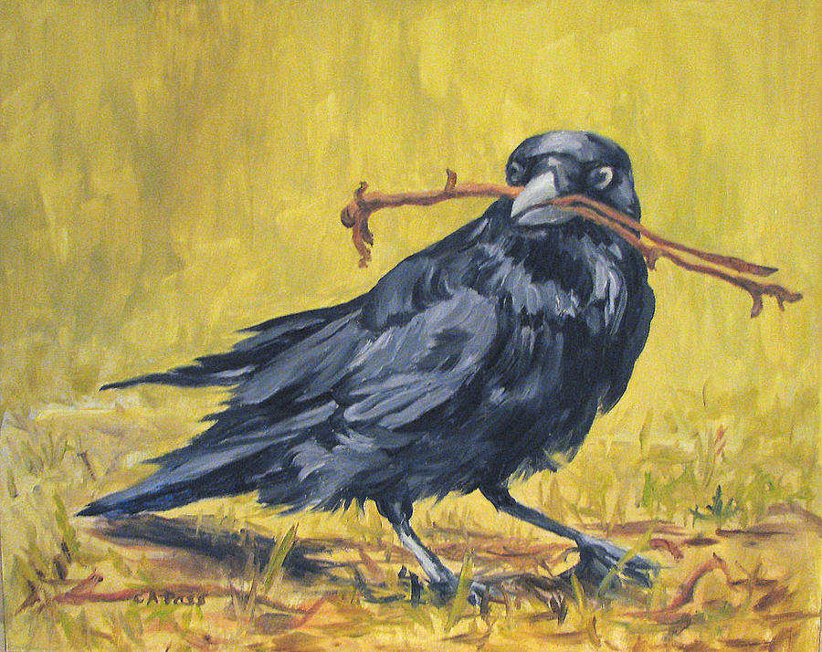 Crow Painting - The Twig Thief by Cheryl Pass