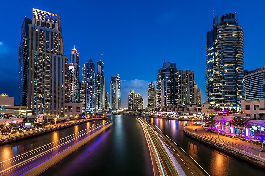 Night Photograph - The Twilights Dubai by Vinaya Mohan