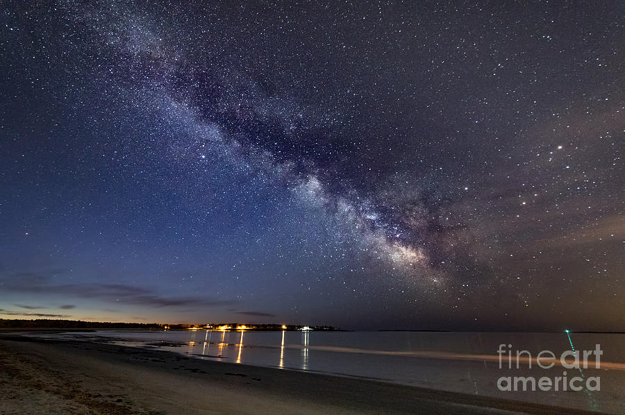 The Two Great Lights - Morning Milky Way Over Prout's Neck by Patrick Fennell