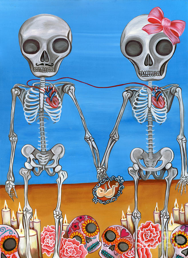 Blue Painting - The Two Skeletons by Jaz Higgins