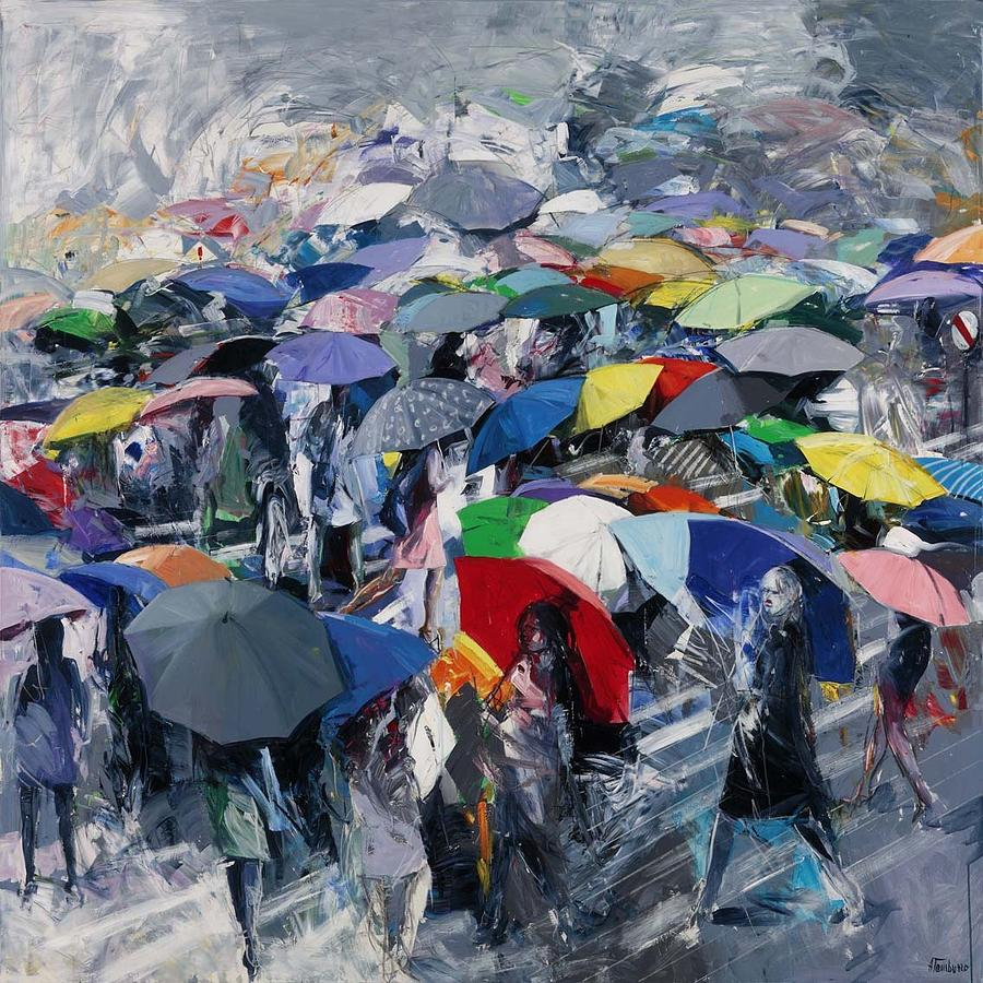 The umbrellas painting by antonio tamburro for Painting for sale by artist