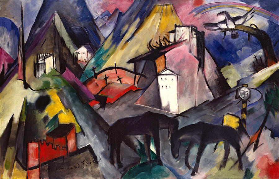 Tyrol Painting - The Unfortunate Land Of Tyrol Franz Marc Painting Of Horses In A Valley Near A Cemetery  by Franz Marc