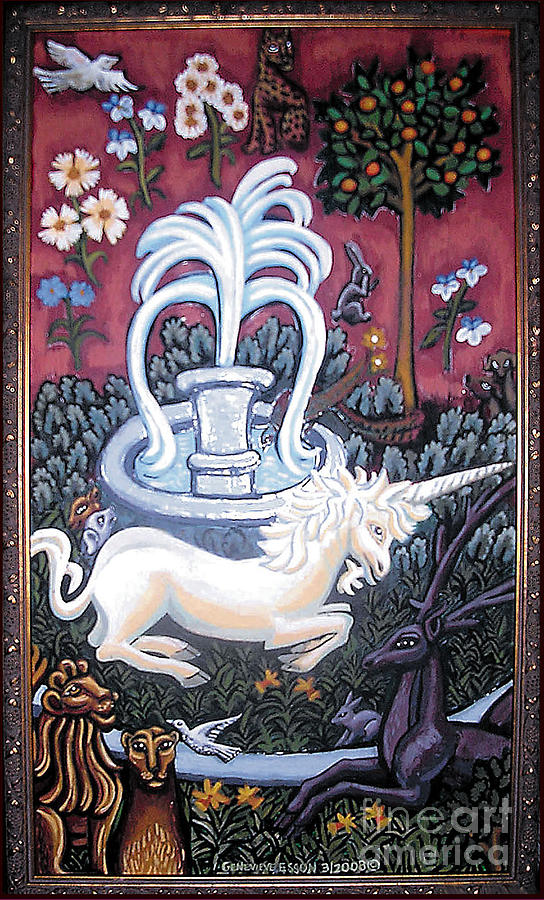 Unicorn Tapestries Painting - The Unicorn And Garden by Genevieve Esson