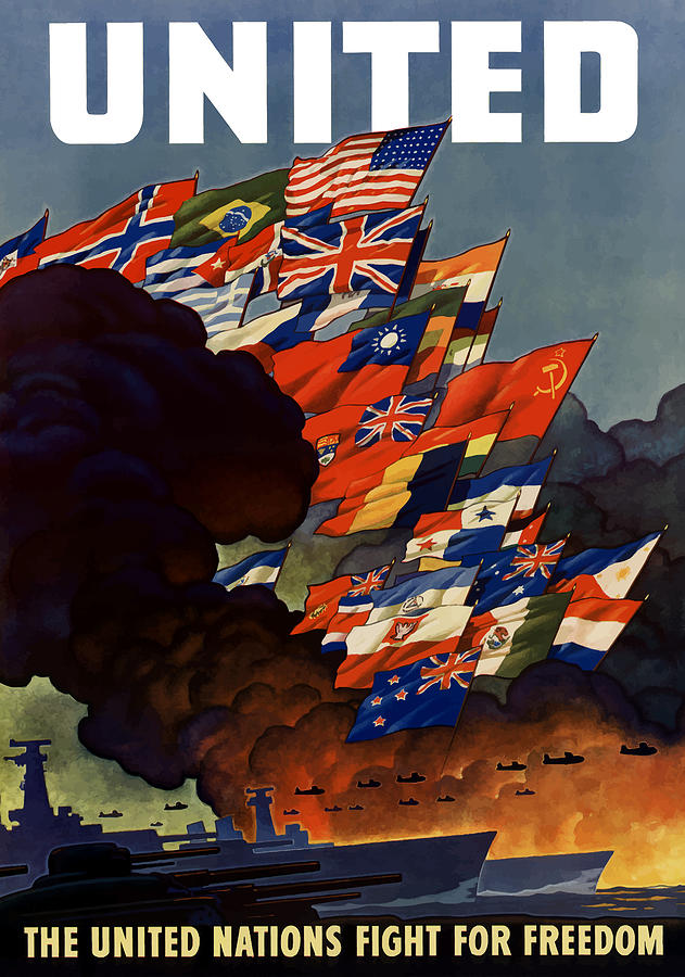 Propaganda Painting - The United Nations Fight For Freedom by War Is Hell Store