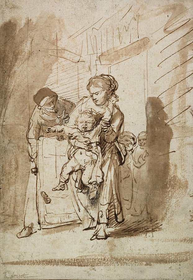 Rembrandt Drawing - The Unruly Child by Rembrandt